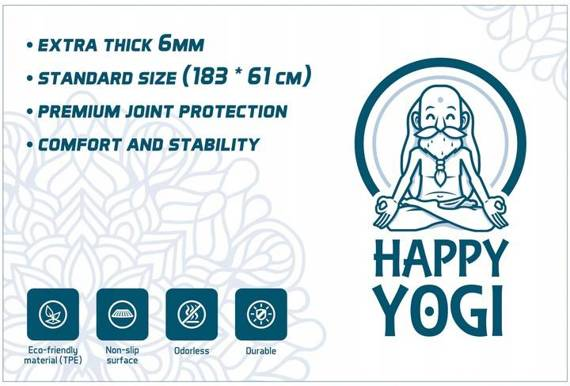 MATA DO JOGI HAPPY YOGI TPE 6MM ECO ANTYPOŚLIZGOWA SZARA